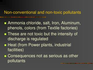 Non-conventional and non-toxic pollutants