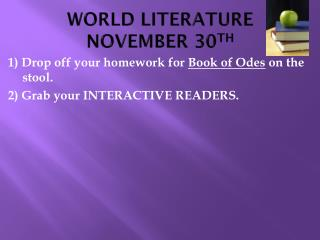 WORLD LITERATURE NOVEMBER 30 TH