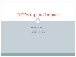 REF2014 and Impact