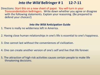 Into the Wild  Bellringer # 112-7-11