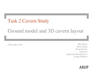 Task 2 Cavern Study Ground model and 3D cavern layout