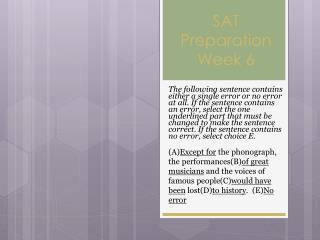 SAT Preparation Week 6