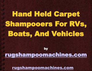 Using Handheld Carpet Shampooers In Personal Watercraft