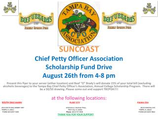 SUNCOAST Chief Petty Officer Association  Scholarship Fund Drive August 26th from 4-8 pm