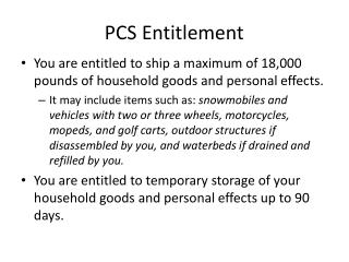 PCS Entitlement