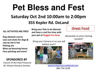 Saturday Oct 2nd 10:00am to 2:00pm 355 Kepler Rd. DeLand