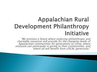 Appalachian Rural Development Philanthropy Initiative