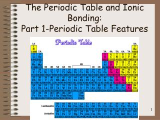 The Periodic Table and Ionic Bonding: Part 1-Periodic Table Features
