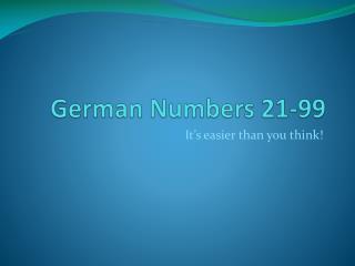 German Numbers 21-99