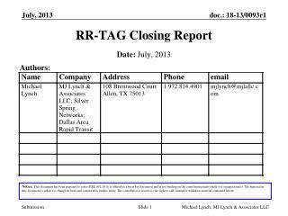 RR-TAG Closing Report