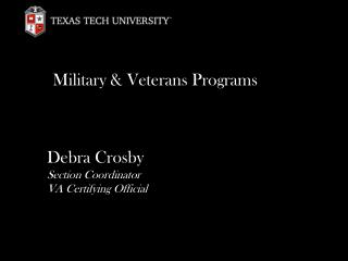 Military & Veterans Programs