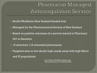 Pharmacist Managed Anticoagulation Service