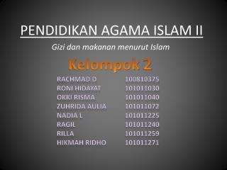 PENDIDIKAN AGAMA ISLAM II
