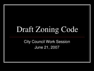 Draft Zoning Code