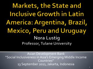 """Asian Development  Bank """"Social Inclusiveness in Asia's Emerging Middle Income Countries"""""""