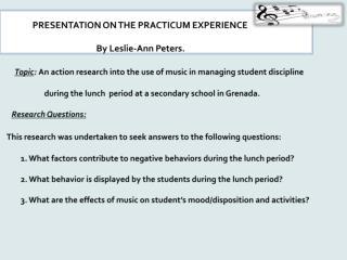 Explanation of Practicum Experience/Intervention