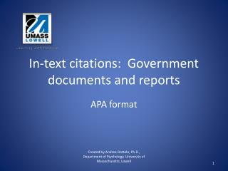 In-text citations:  Government documents and reports