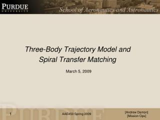 Three-Body Trajectory Model and  Spiral Transfer Matching