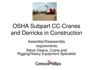 OSHA Subpart CC-Cranes and Derricks in Construction