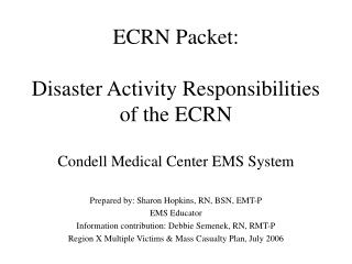 ECRN Packet:  Disaster Activity Responsibilities of the ECRN