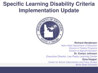 Specific Learning Disability Criteria Implementation Update