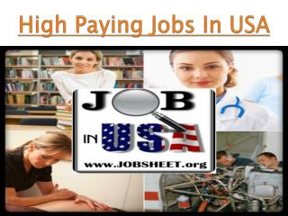 High Paying Jobs In USA