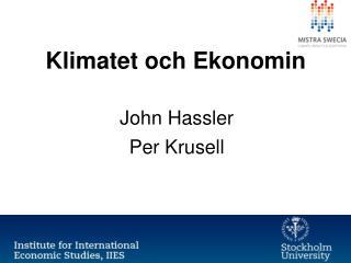Klimatet och Ekonomin