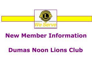 New Member Information