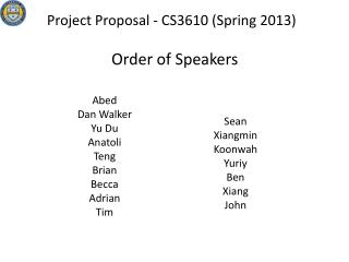 Project Proposal -  CS3610 (Spring 2013)