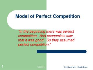 Model of Perfect Competition