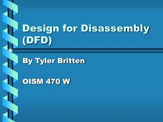 Design for Disassembly DFD