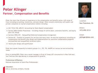 Peter Klinger Partner, Compensation and Benefits