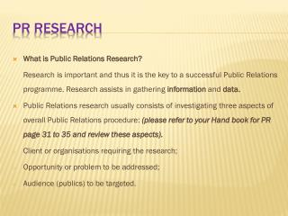 PR Research