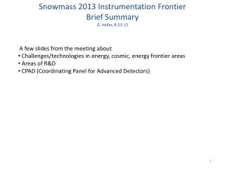 Snowmass 2013 Instrumentation Frontier  Brief Summary G. Haller, 8-23-13