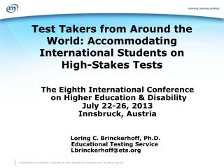 Test Takers from Around the World: Accommodating International Students on  High-Stakes Tests