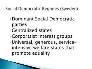 Social Democratic Regimes (Sweden)