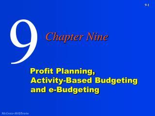 Profit Planning, Activity-Based Budgeting and e-Budgeting
