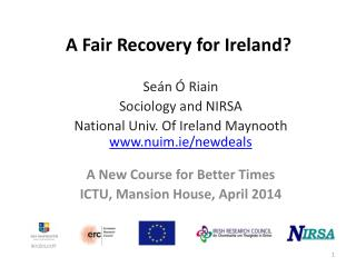 A Fair Recovery for Ireland?