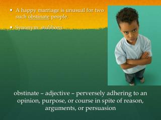 A happy marriage is  unusual for  two			   such  obstinate  people. Synonym: stubborn