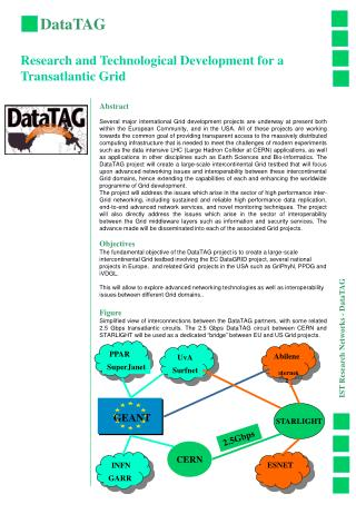 DataTAG Research and Technological Development for a Transatlantic Grid