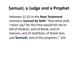 Samuel, a Judge and a Prophet