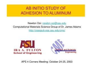 AB INITIO STUDY OF  ADHESION TO ALUMINUM