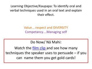 Do  Now /  Nā Mahi :
