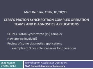 CERN's Proton Synchrotron complex operation teams and diagnostics applications