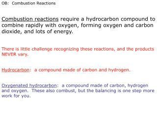 OB:  Combustion Reactions