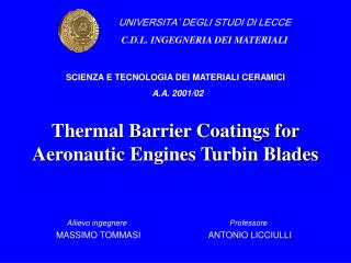 Thermal Barrier Coatings for Aeronautic Engines Turbin Blades