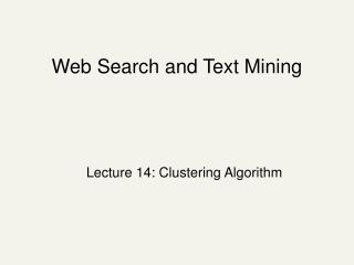 Web Search and Text Mining