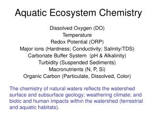 Aquatic Ecosystem Chemistry