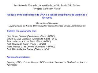 """Instituto  de  Física  da  Universidade  de São Paulo, São Carlos """" Projeto  Café com  Física """""""