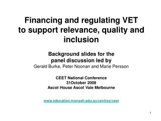 Financing and regulating VET  to support relevance, quality and inclusion